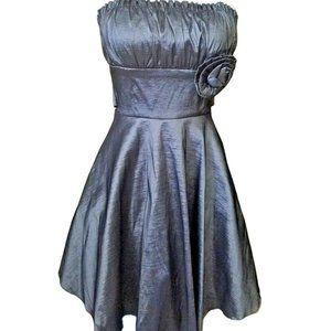 Women's Short Strapless Metallic Silver Prom Dress
